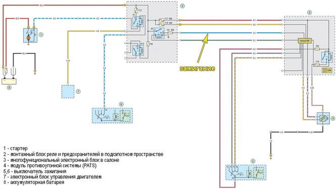 Электросхема системы ABS: